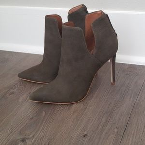 Killer olive green leather booties
